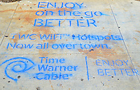 Have you seen the Time Warner Cable tags around town promoting their new Hot Spots? This one is on Ocean Front Walk. (May 6, 2012)