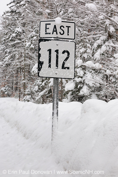 Kancamagus Highway (route 112), which is one of New England's scenic byways after a snow storm. Located in the White Mountains, New Hampshire USA