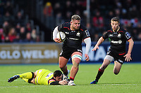Richard Barrington of Saracens takes on the Leicester Tigers defence. Anglo-Welsh Cup match, between Saracens and Leicester Tigers on February 5, 2017 at Allianz Park in London, England. Photo by: Patrick Khachfe / JMP