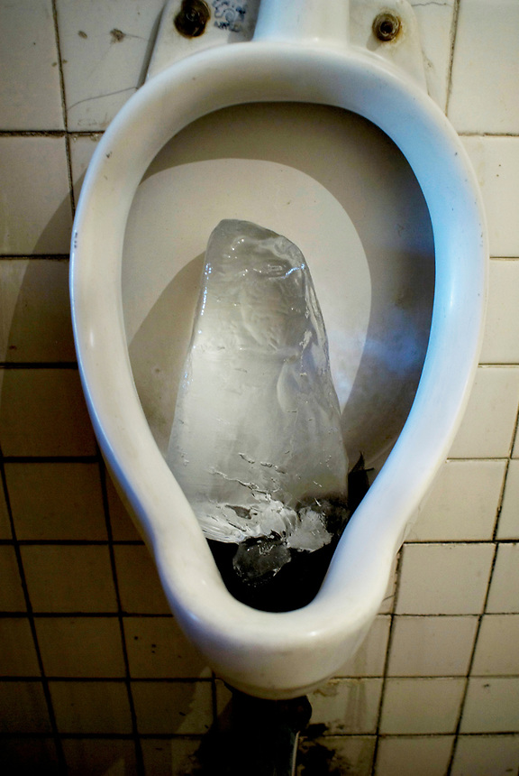 A block of ice in the urinal of El Principio Cantina in the Tepito neighbourhood of Mexico City September 18, 2007