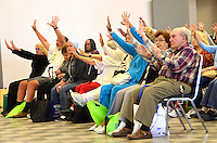 Seniors participate in a NAAM Yoga class during the Boomers and Beyond action expo at the Santa Monica Civic Auditorium on Wednesday, May 23, 2012.The Expo helped raise awareness of innovative products and services available to the 50+ population and celbrates Older Americans Month. The expo was presented by WISE & Healthy Aging and the City of Santa Monica.