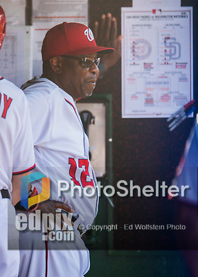 24 July 2016: Washington Nationals Manager Dusty Baker stands in the dugout during a game against the San Diego Padres at Nationals Park in Washington, DC. The Padres defeated the Nationals 10-6 to take the rubber match of their 3-game, weekend series. Mandatory Credit: Ed Wolfstein Photo *** RAW (NEF) Image File Available ***