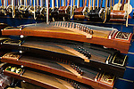 Guzheng, Chinese zither, musical instruments in a store in Shanghai, China.