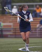 University of New Hampshire midfielder Laura Puccia (3) looks to pass. Boston College defeated University of New Hampshire, 11-6, at Newton Campus Field, May 1, 2012.