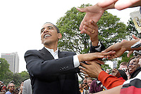 ATLANTA, GA - April 14, 2007:  United States Senator and Democratic Presidential candidate Barack Obama shakes hands with admirers at Georgia Tech in Atlanta, Georgia, April 14, 2007.