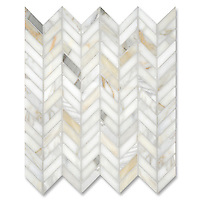Chevron, shown in polished Calcatta Gold is part of New Ravenna's Studio Line. All mosaics in this collection are ready to ship within 48 hours.<br /> <br /> For pricing, samples and design help, please contact a showroom near you : http://www.newravenna.com/showrooms/