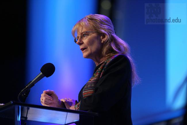 Carolyn Nordstrom at the Campaign Kickoff, 2007..Photo by Matt Cashore.