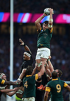 Lood de Jager of South Africa wins the ball at a lineout. Rugby World Cup Semi Final between South Africa and New Zealand on October 24, 2015 at Twickenham Stadium in London, England. Photo by: Patrick Khachfe / Onside Images