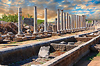 Ruins of the Roman Columned street which was lined with shops & stores. the troughs in the foreground were filled with running  water from the Fountain of the Acropolis. Perge (Perga) archaeological site, Turkey