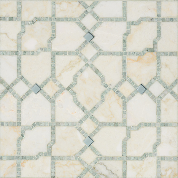 Fasaldo, a handmade mosaic shown in Aquaberyl glass, honed Cloud Nine  and polished Ming Green. Designed by Paul Schatz for New Ravenna.<br />