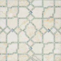 Fasaldo, a handmade mosaic shown in Aquaberyl glass, honed Cloud Nine  and polished Ming Green. Designed by Paul Schatz for New Ravenna.<br /> <br /> For pricing samples and design help, click here: http://www.newravenna.com/showrooms/
