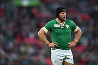 Sean O'Brien of Ireland looks on during a break in play. Rugby World Cup Pool D match between Ireland and Romania on September 27, 2015 at Wembley Stadium in London, England. Photo by: Patrick Khachfe / Onside Images