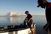 The smoking volcanos of Rabaul, Papua New Guinea,  Thursday 18th September 2008..