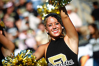 WEST LAFAYETTE, IN - SEPTEMBER 29: A Purdue Boilermakers cheerleader cheers during action against the Marshall Thundering Herd at Ross-Ade Stadium on September 29, 2012 in West Lafayette, Indiana. (Photo by Michael Hickey/Getty Images)