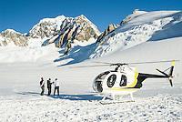 Helicopter scenic flight on Fox Glacier neve with Mt. Tasman 3497m, Westland Tai Poutini National Park, UNESCO World Heritage Area, South Westland, New Zealand, NZ