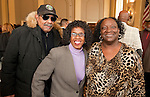 WATERBURY, CT-021517JS09---Jimmy Griffin; Board of Education member Karen E. Harvey and African American Mayor of the Day committee member Sophie Walton at the African American Mayor for the Day celebration at Waterbury City Hall. <br /> Jim Shannon Republican-American