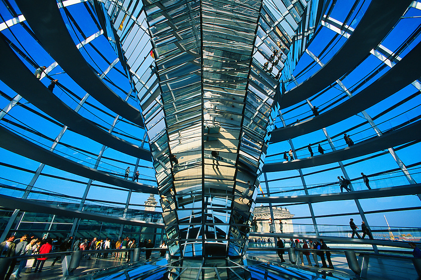 view of the reichstagsuppel glass dome on top of the bundestag building berlin germany. Black Bedroom Furniture Sets. Home Design Ideas