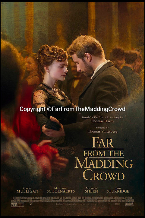 BNPS.co.uk (01202 558833)<br /> Pic: FarFromTheMaddingCrowd/BNPS<br /> <br /> A movie poster from the film.<br /> <br /> A shepherd's hut used by the real-life Gabriel Oak, the main love interest in the new movie Far From the Madding Crowd, has been saved from ruin after being found abandoned in a hedgerow.<br /> <br /> The cabin on wheels belonged to Waterston Manor, the inspiration for fictional Weatherbury Farm which Carey Mulligan's character Bathsheba Everdene owns in the film adaptation of the Thomas Hardy classic novel.<br /> <br /> It has been returned to its former glory by historian David Morris.