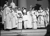 Episcopal Ordination Of Desmond Connell. (R74).1988..06.03.1988..03.06.1988..6th March 1988..Following the death of Archbishop Kevin McNamara in April '87, Pope John Paul II surprisingly nominated Desmond Connell for the position of Archbishop of Dublin. The ordination of Dr Connell took place at the Pro-Cathedral in Dublin...Image shows Archbishop Desmond Connell taking his chair of office in the Pro-Cathedral after his Episcopal Ordination.