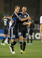 March 10th, 2013: Ty Harden congratulates Adam Jahn's first MLS goal during a game against Red Bulls at Buck Shaw Stadium, Santa Clara, Ca.   Earthquakes defeated Red Bulls 2-1