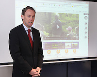 ***NO FEE PIC***.15/11/2010.Minister for Children Barry Andrews TD .at the launch of Children's Hope.TV at The Media Cube, IADT,Dun Laoghaire, Co. Dublin..The Irish children's Charity Children's Hope has developed an online educational resource for young people & youth workers, a website caleed www.childrens-hope.tv..The websitte features short curriculm-adhering educational programmes available to be played by young people in after-school projects geared to Youth & Comunity Leaders..Photo: Gareth Chaney Collins