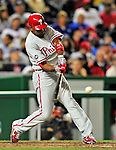 29 September 2010: Philadelphia Phillies' outfielder Ben Francisco in action against the Washington Nationals at Nationals Park in Washington, DC. The Phillies defeated the Nationals 7-1 to take the rubber game of their 3-game series. Mandatory Credit: Ed Wolfstein Photo