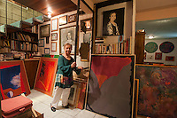 Ruth Hernandez, painter, at her house in Mexicali, Mexico...© Stefan Falke.http://www.stefanfalke.com/..