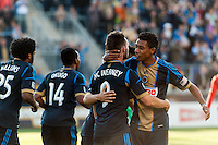 Jack McInerney (9) of the Philadelphia Union celebrates scoring with Jose Kleberson (19) during the second half. Toronto FC and the Philadelphia Union played to a 1-1 tie during a Major League Soccer (MLS) match at PPL Park in Chester, PA, on April13, 2013.