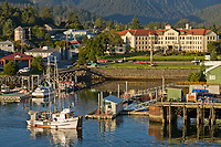 Commercial trolling vessel Zarembo passes through Sitka Channel, Sitka, Alaska.