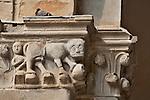 Architectural detail of a column capital in the Palazzo della Ragione atrium in Bergamo, Italy