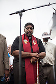 Rev. Dr. William Barber leads the Moral Monday protest at the North Carolina State Legislature in Raleigh.