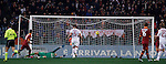 Calcio, Serie A: Roma vs Milan. Roma, stadio Olimpico, 22 dicembre 2012..AS Roma forward Erik Lamela, of Argentina, left, scores during the Italian Serie A football match between AS Roma and AC Milan at Rome's Olympic stadium, 22 December 2012..UPDATE IMAGES PRESS/Isabella Bonotto