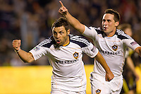 LA Galaxy midfielder Dema Kovalenko celebtares his goal with teammate Todd Dunivant in tow. The LA Galaxy defeated the Columbus Crew 3-1 at Home Depot Center stadium in Carson, California on Saturday Sept 11, 2010.