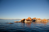 """Boulders on Lake Tahoe 17"" - These orange, black, and grey boulders were photographed in the early morning near Speedboat Beach, Lake Tahoe."
