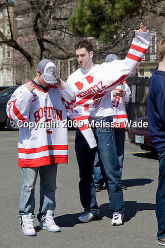 Chris Connolly (BU - 12), Zach Cohen (BU - 11) - Boston University celebrated the Terrier's men's hockey national championship win with a parade starting from a parking lot at Commonwealth Avenue and Deerfield running to BU's Marsh Plaza where the Terriers were honored on stage before mingling with the fans.