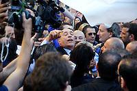Roma 19 Aprile 2013.Proteste davanti a Montecitorio  dei partiti del centro-destra per la candidatura di Romano Prodi alla Presidenza della Repubblica da parte del Partito Democratico. Domenico Gramazio urla contro i militanti del centro-sinistra