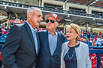 28 February 2017: Major League Baseball Commissioner Rob Manfred (left) chats with Washington Nationals Owners Ted and Annette Lerner prior to the inaugural Spring Training game between the Washington Nationals and the Houston Astros at the Ballpark of the Palm Beaches in West Palm Beach, Florida. The Nationals defeated the Astros 4-3 in Grapefruit League play. Mandatory Credit: Ed Wolfstein Photo *** RAW (NEF) Image File Available ***