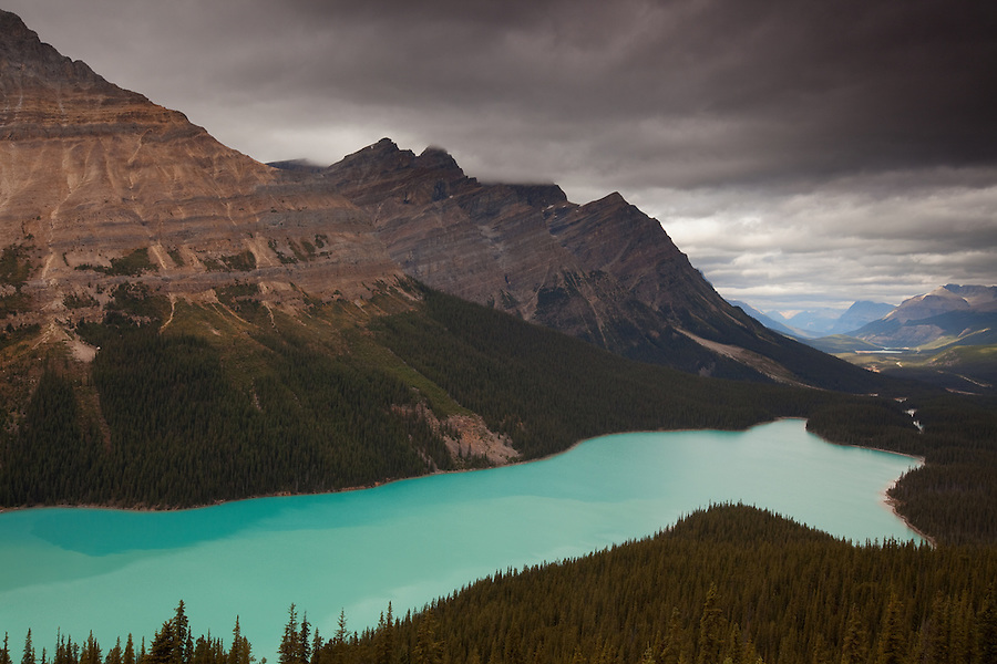 A stormy day seen from the Peyto lake overlook in Alberta, Canada.