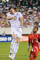 Kenny Cooper (17) of the United States (USA) heads the ball. The United States (USA) defeated Panama (PAN) 2-1 during a quarterfinal match of the CONCACAF Gold Cup at Lincoln Financial Field in Philadelphia, PA, on July 18, 2009.