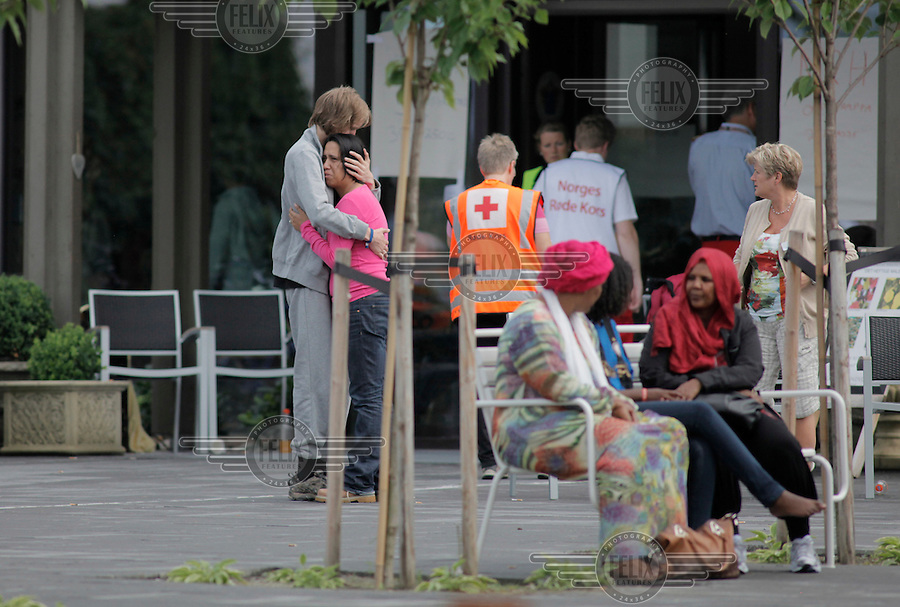 (Oslo July 23, 2011) The day after a shooting spree by a lone gunman who killed over 80 youths at a political camp.  The man was also thought to be behind a  powerful explosion ripped through government buildings in central Oslo, Norway, killing many people and injuring more.  (photo: Fredrik Naumann/Felix Features)