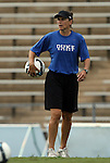28 August 2009: Duke assistant coach Carla Overbeck. The Duke University Blue Devils lost 1-0 to the University of North Carolina Greensboro Spartans at Fetzer Field in Chapel Hill, North Carolina in an NCAA Division I Women's college soccer game.