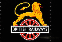British Railways logo on vintage steam engine at Toddington, Gloucestershire