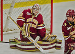 19 February 2016: Boston College Eagle Goaltender Thatcher Demko, a Junior from San Diego, CA, makes a second period save against the University of Vermont Catamounts at Gutterson Fieldhouse in Burlington, Vermont. The Eagles defeated the Catamounts 3-1 in the first game of their weekend series. Mandatory Credit: Ed Wolfstein Photo *** RAW (NEF) Image File Available ***