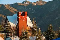 Winter Scene, House, Snow, Mountains, Trees, Pasadena, Parade Float
