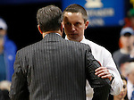 Florida Head Coach Mike White and UK Head Coach John Calipari talk at mid-court after the UK Men's Basketball vs. Florida Gators game at Rupp Arena. Saturday, February 6, 2016 in Lexington, Ky. UK defeated Florida 80 - 61
