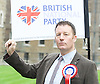 Adam Walker speaks at BNP Rally on Immigration outside Parliament, Westminster, London, Great Britain <br />
