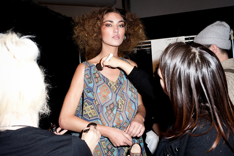 Backstage during NY Fashion Week 2012