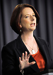 Australian Prime Minister Julia Gillard speaks on the new Queensland flood levy at the National Press Club, Canberra, 27 Jan 2011. Image: Mark Graham