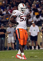 Miami defensive end Allen Bailey. The Miami Hurricanes defeated the Pittsburgh Panthers 31-3 at Heinz Field, Pittsburgh, Pennsylvania on September 23, 2010.