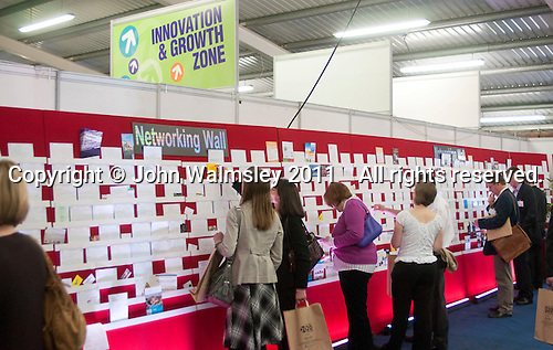 Networking wall where delegates can leave their business cards for others to see and take, Kent2020Vision show, County Showground, Kent.
